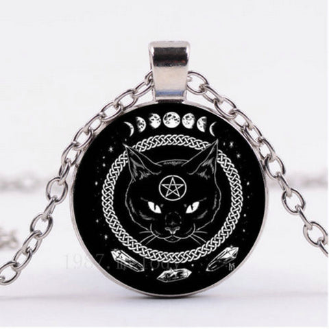Black Cat Pentagram Necklace
