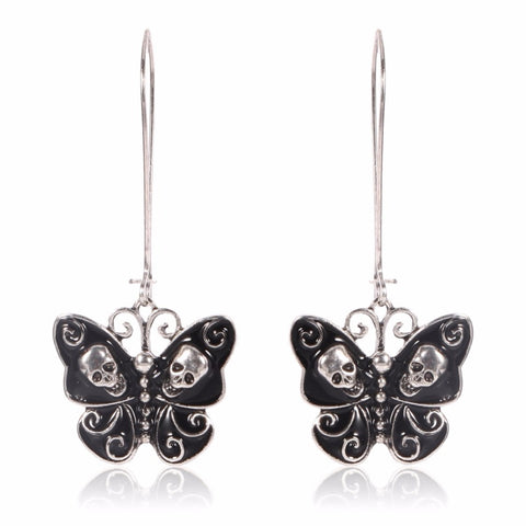Butterfly Skull Drop Earrings