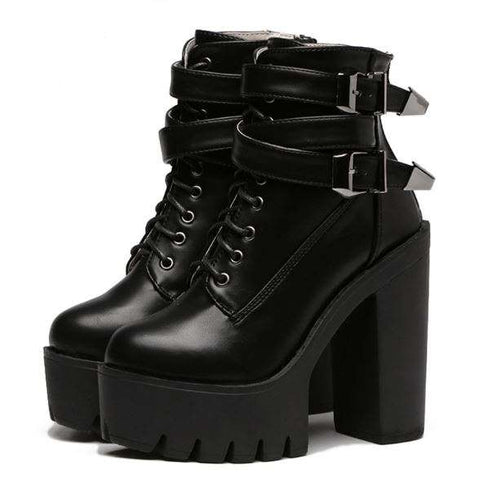 Buckle Lace Up Boots