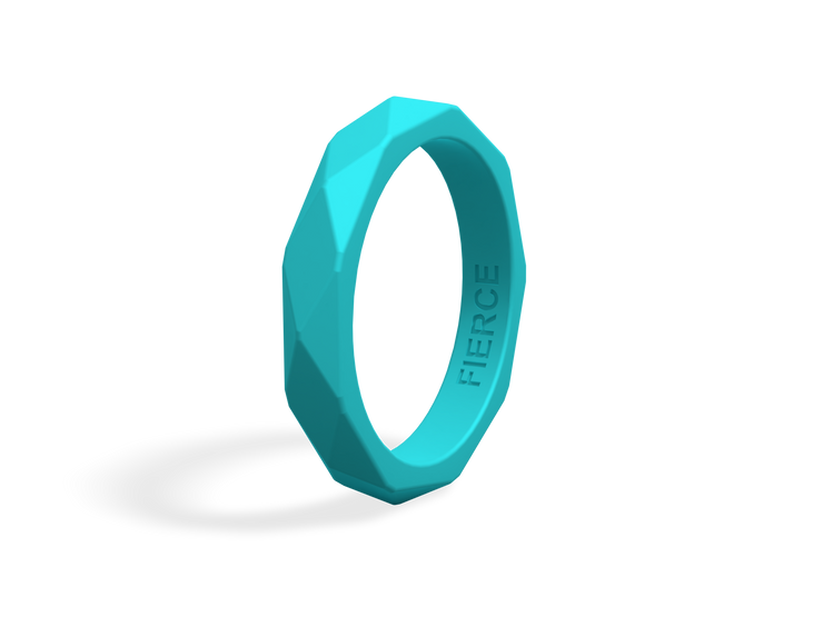 Women's Geometric Fierce Ring / Teal