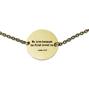 """He First Loved Us"" Coin Pendant Necklace, Gold"