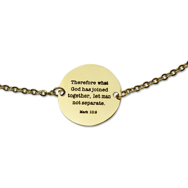"NEW ""Let Man Not Separate"" Coin Pendant Necklace, Gold"