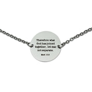 "NEW ""Let Man Not Separate"" Coin Pendant Necklace, Silver"