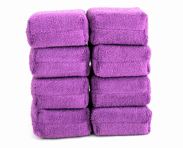 Professional Grade Microfibre Car Applicator Pads / Sponges - Pack of 8 - 12x8x4cm