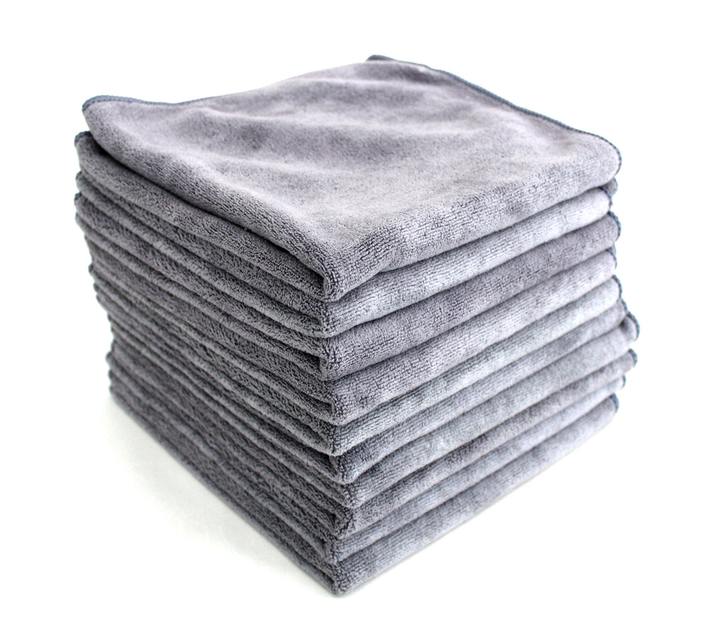 Professional Grade Microfibre Car Cleaning Cloths - Pack of 10 - 40x40cm - 400GSM