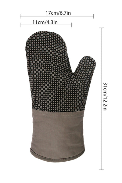 Premium Heat Resistant Oven Gloves / Mitts - Pack of 2 : Non-Slip Silicone Exterior
