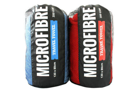 Premium Microfibre Travel / Sports Towel - 130x80cm - 350GSM : Super Soft, Lightweight, Quick Drying & Highly Absorbent