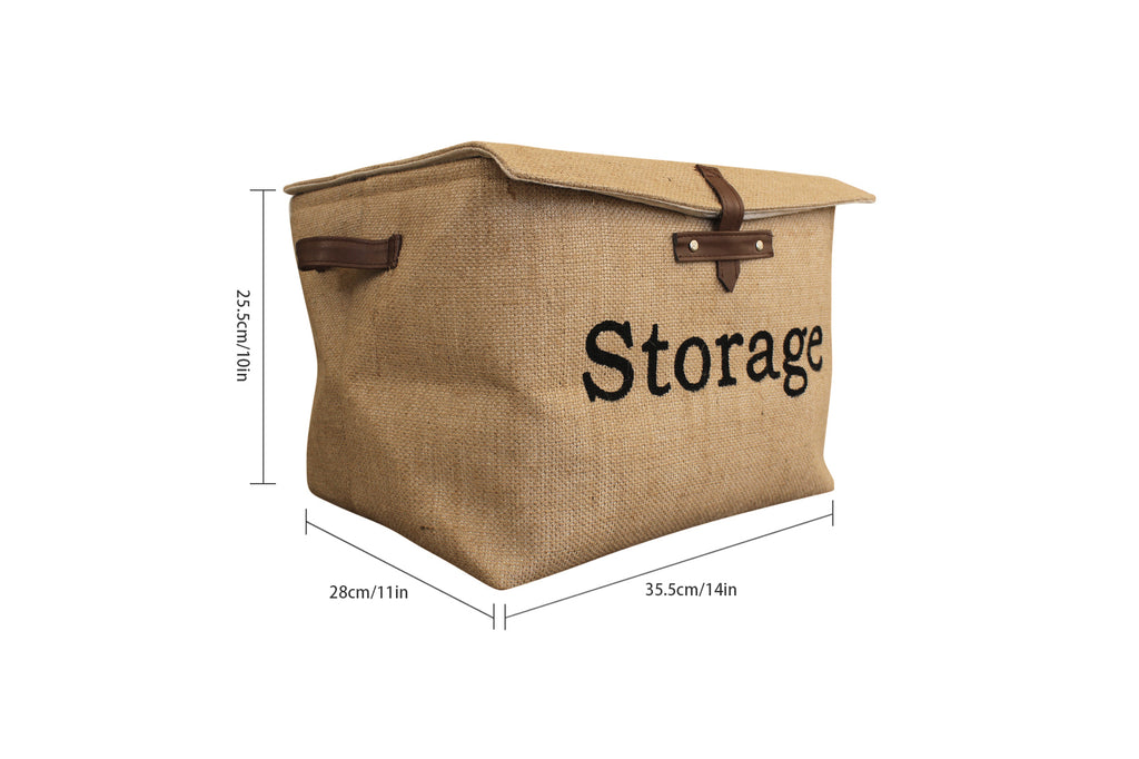Collapsible Jute Canvas Storage Basket / Bin / Box / Organizer with Lid