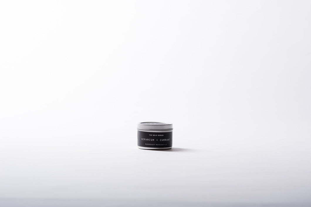 The Bold Series Soy Candle | 4oz Tin | GERANIUM + CURRANT - Case of 6