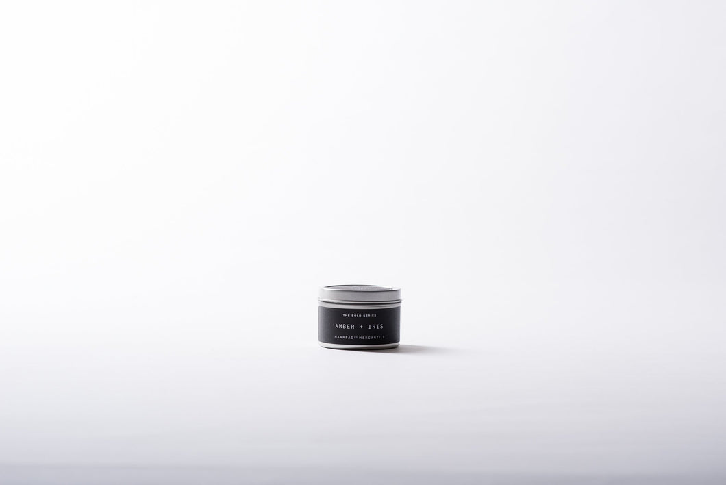 The Bold Series Soy Candle | 4oz Tin | AMBER + IRIS - Case of 6