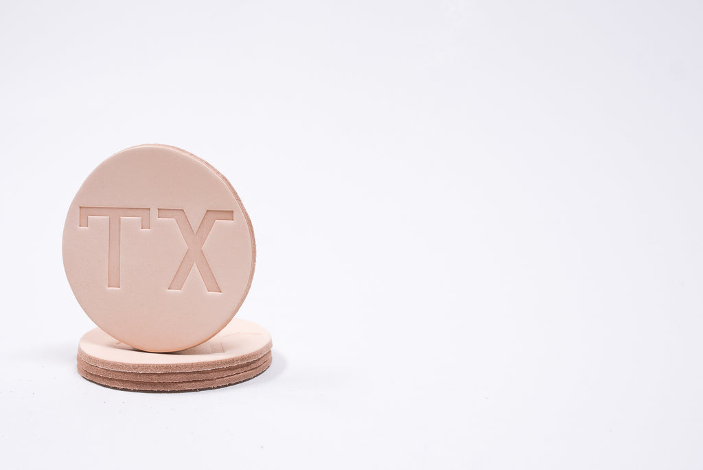 Coaster 4 Pack TX Branding Iron | Veg Tanned | Manready Mercantile