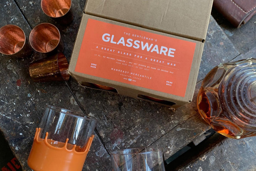 The Gentleman's Glassware - Orange Wax Dipped Whiskey Glasses - Case of 6