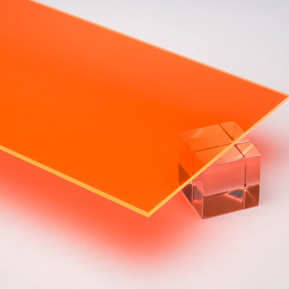 Orange Fluorescent Acrylic Plexiglass Sheet, color 6330