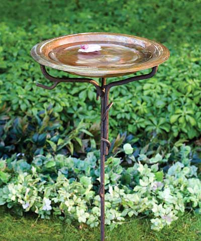Ancient Graffiti Solid Copper Bird Bath with Stake