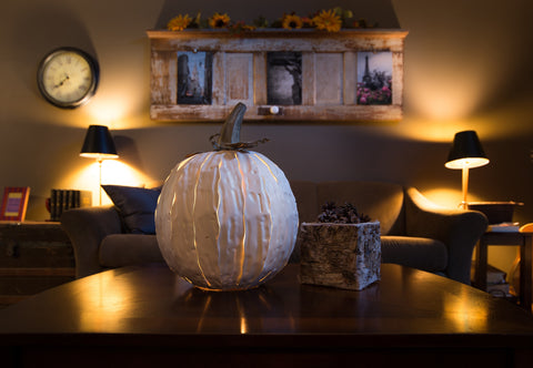 Squatty White Powder Coated Steel Pumpkin Luminary