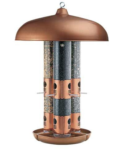 Triple Tube Bird Feeder with a Copper Finish