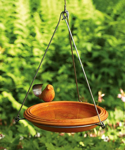 Ancient Graffiti Ceramic Hanging Bird Bath, Available in Two Colors