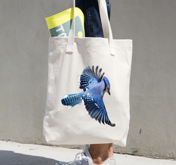 Versatile Tote Bag With Custom Blue Jay Design