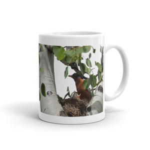 Heavy Duty Ceramic Mug With Gorgeous Robin and Fledgling Design