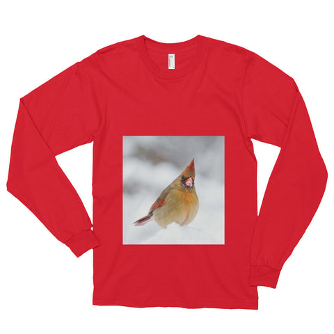 Long Sleeve T-Shirt With Cardinal In Snow Design