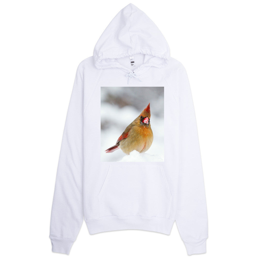 Hoodie With Cardinal In Snow Design