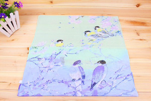 Soft Chiffon Silk Scarf With Bird Print, Assorted Colors