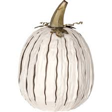 Tall White Powder Coated Steel Pumpkin Luminary