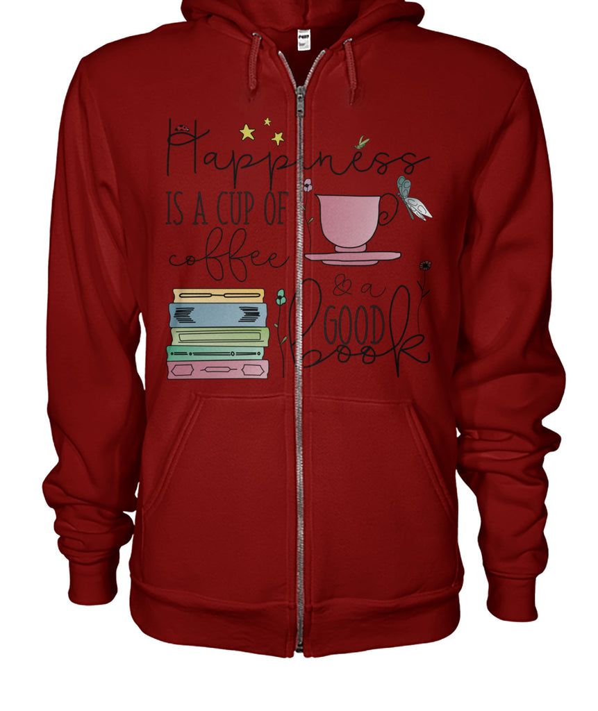 Coffee & Books Happiness in a Cup Zip Up