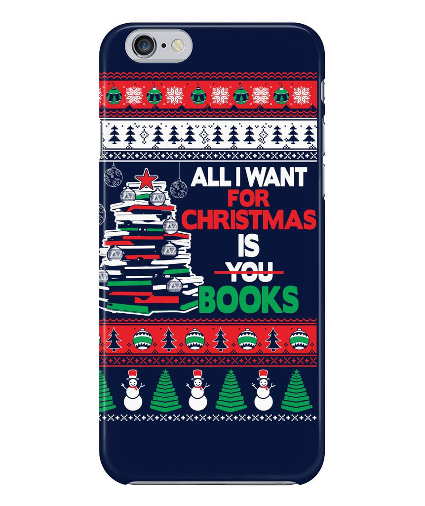 All I want for christmas is books phone case