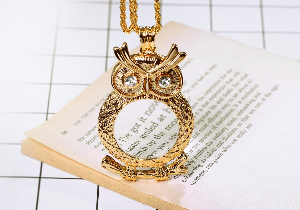 Owl help you read the small print necklace
