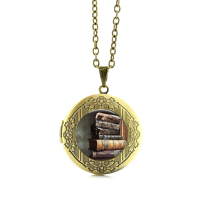 Gorgeous Book Lovers Locket Pendant Necklace