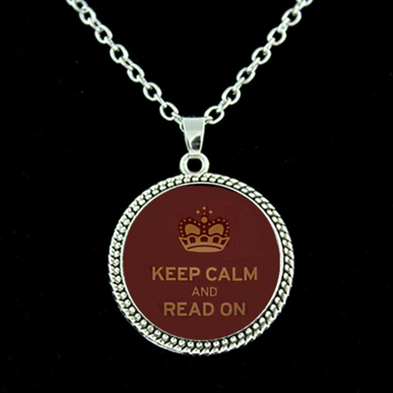 Keep Calm And Read On Necklace