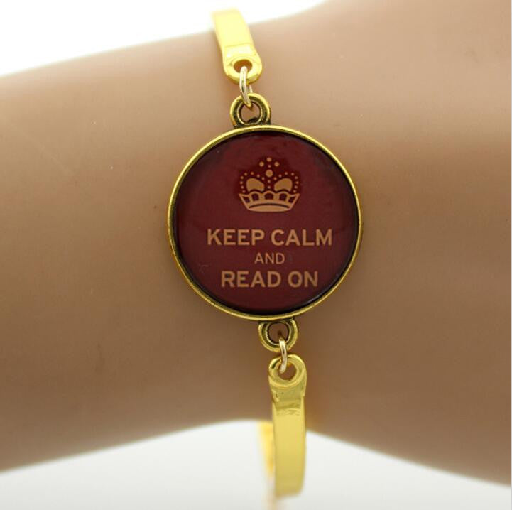 Keep Calm and Read On Bracelet