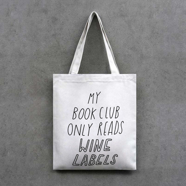 Wine Lover Bookworm Handcrafted Tote Bags