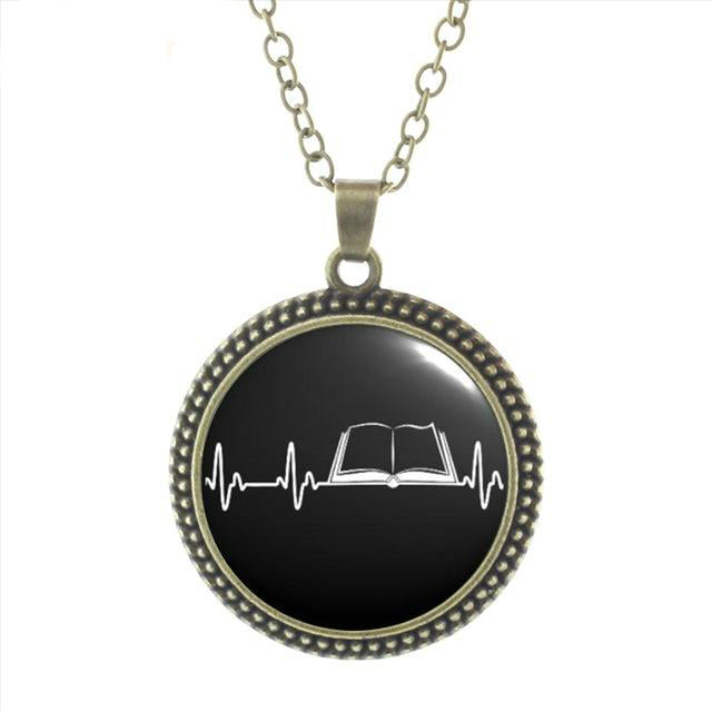 My Heart Beats for Books Necklace