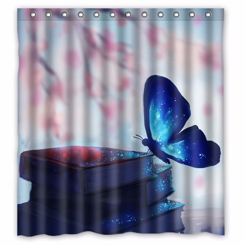 Beautiful Butterfly on Beautiful Books Shower Curtain
