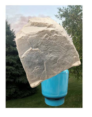 "Artificial Rock 45"" x 36"" x 42"" Model 123 in Sandstone color protecting large tank"