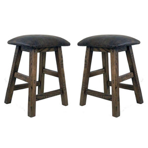 Barnwood Cushion Seat Bar Stool (Set of 2)