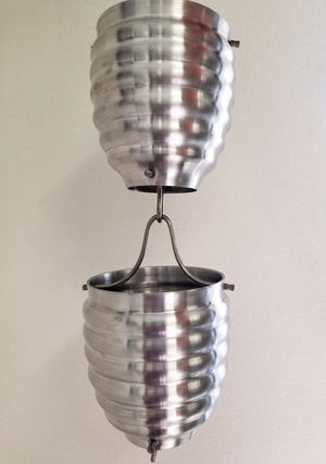 Two Cup Style Rain Chain Aluminum Beehive cups