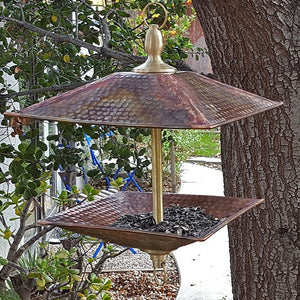 Easy Fill Copper & Brass Square Bird Feeder