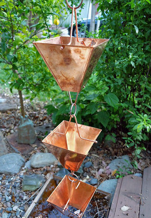 Extra Large Copper Square Cups Rain Chain on house