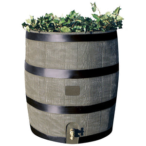 35 Gallon Wood Grain Rain Barrel with Planter