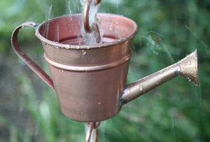 Watering Can copper Cups Rain Chain with water flowing through watering can shaped cup