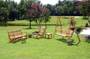 White Oak Foot Rocker in back yard
