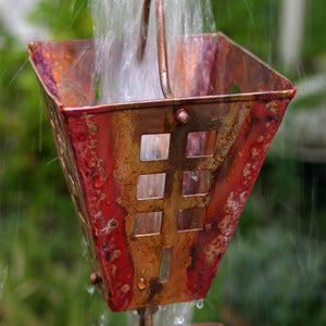Arts & Crafts Copper Square Cups Rain Chain with water flowing through cup