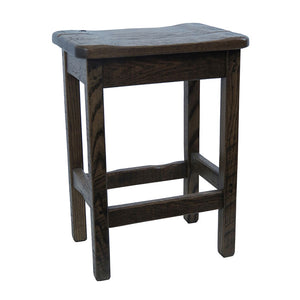 Barnwood Bar Stool w/ Scooped Seat