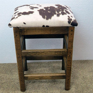 Barn Wood Backless Bar Stool w/ Changeable Fabric Seat