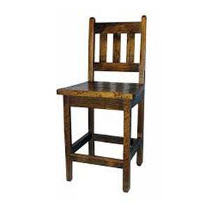 "24"" Rustic Barnwood Bar Stool w/ Slat Back"