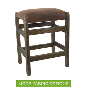Barn Wood Backless Bar Stool w/ Upholstered Seat