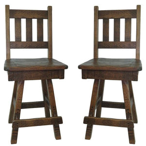 Swivel Barn Wood Bar Stool w/ Slat Back (Set of 2)